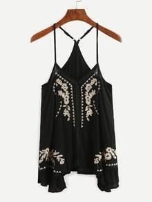 Black Embroidered Ruffled Racerback Cami Top