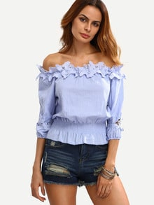 Off The Shoulder Applique Crop Top