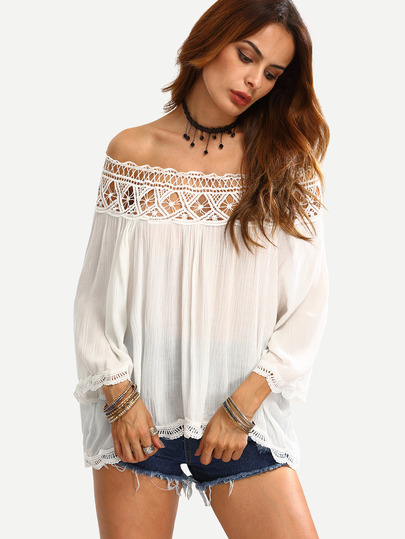 Off The Shoulder Crochet Hollow Dip Hem T-Shirt