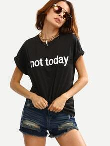 Crew Neck Letters Print Cuffed Sleeve T-shirt