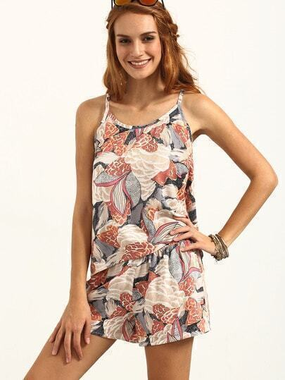 Multicolor Print Sleeveless Top With Shorts