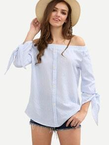 Blue Off The Shoulder Tie Cuff Bottons Blouse