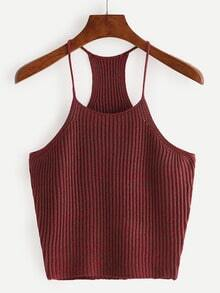 Burgundy Spaghetti Strap Knitted Tank Top