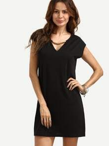 Plunging V-neckline Loose Dress