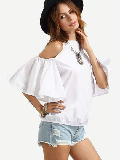 White Cold Shoulder Ruffle Open Back Top