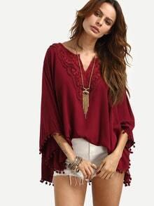 Burgundy V Neck Lace Insert Pom Pom Loose Shirt