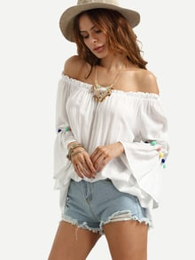 White Off The Shoulder Bell Sleeve Pom Pom Pleated Shirt