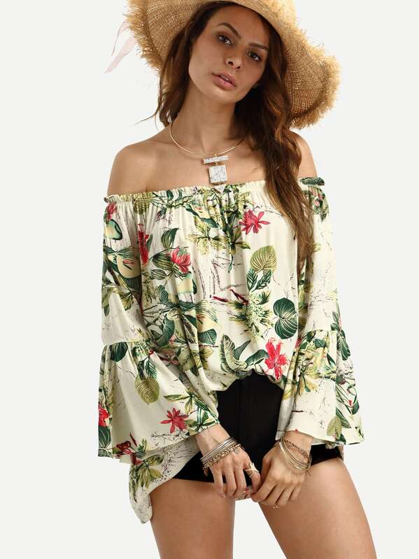 Off The Shoulder Bell Sleeve Floral Print Top, Andy
