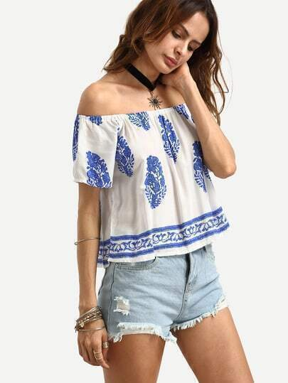 Off The Shoulder Vintage Print Top