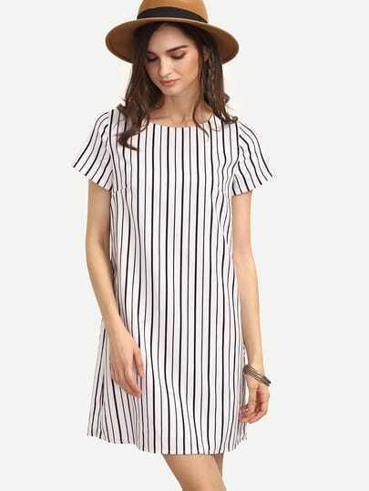 Black White Striped Short Sleeve Shift Dress