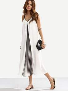 Black And White Spaghetti Strap Shift Midi Dress