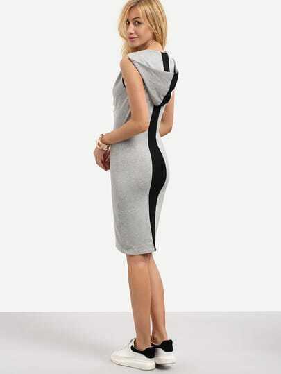 Multicolor Sleeveless Hooded Zipper Sheath Dress
