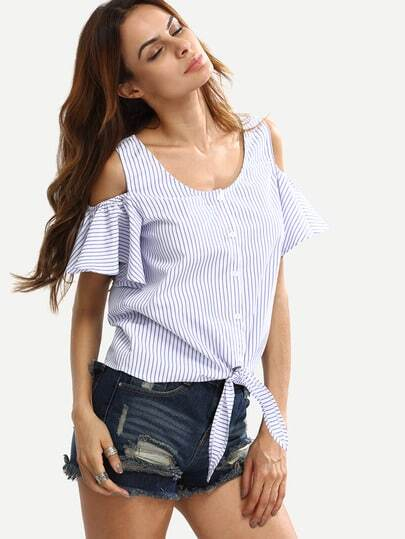 Blue Striped Cold Sholder Buttons Blouse