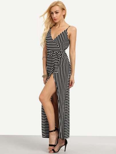 Black And White Striped Split Maxi Dress