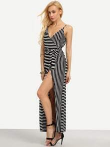 Black And White Striped Split Maxi Dress