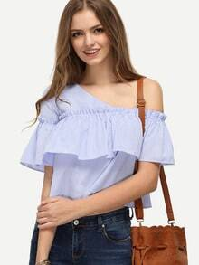 Blue Striped One Shoulder Ruffle Blouse
