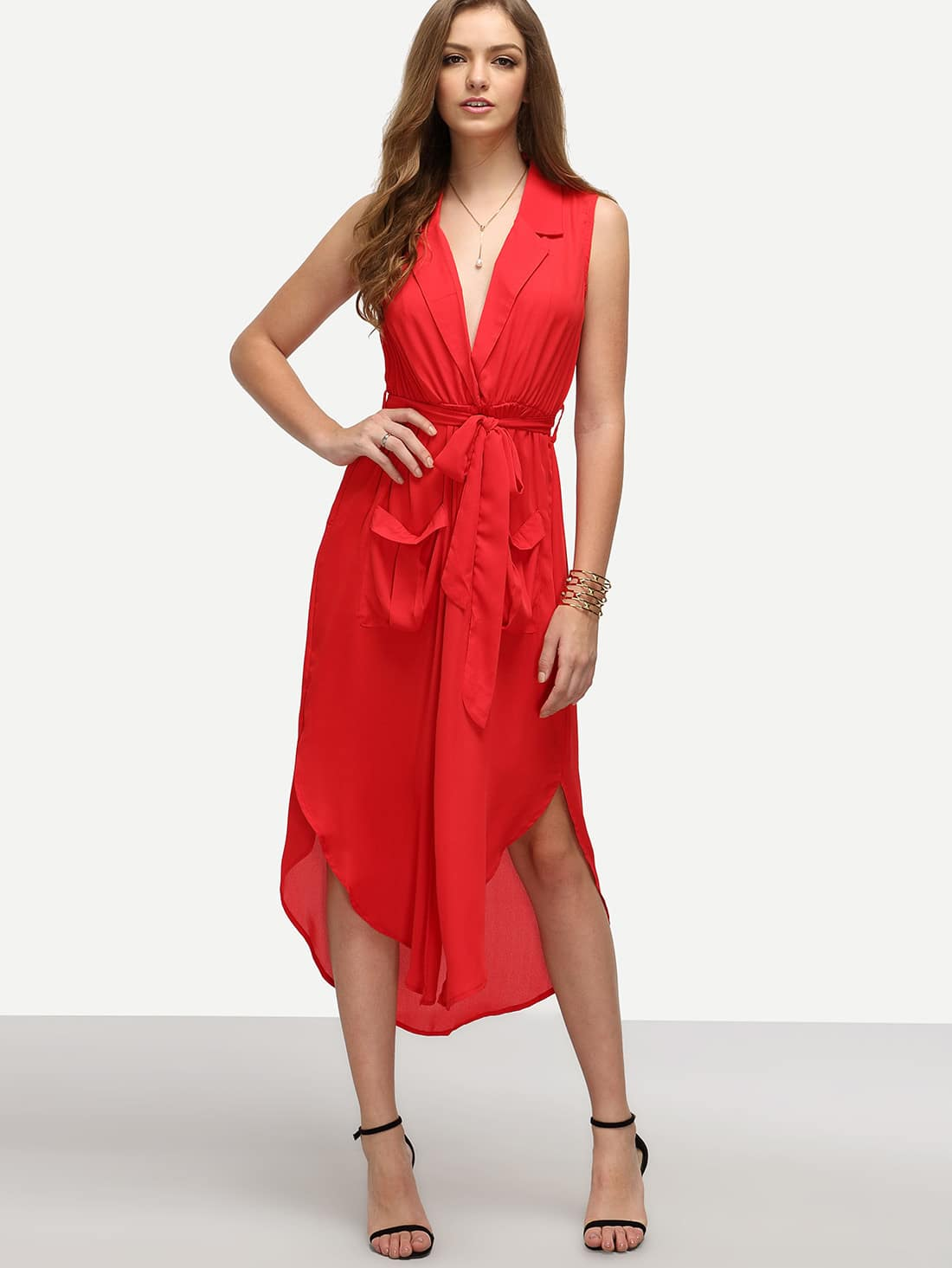 Red Lapel Self-tie HIgh Low Chiffon Dress With Pockets dress160608307