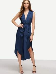 Navy Lapel Self-tie HIgh Low Chiffon Dress With Pockets