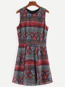 Multicolor Print Vintage Sleeveless Dress