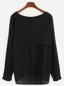Black Split Back Long Sleeve Blouse