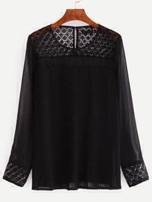 Black Long Sleeve Lace Patchwork Blouse