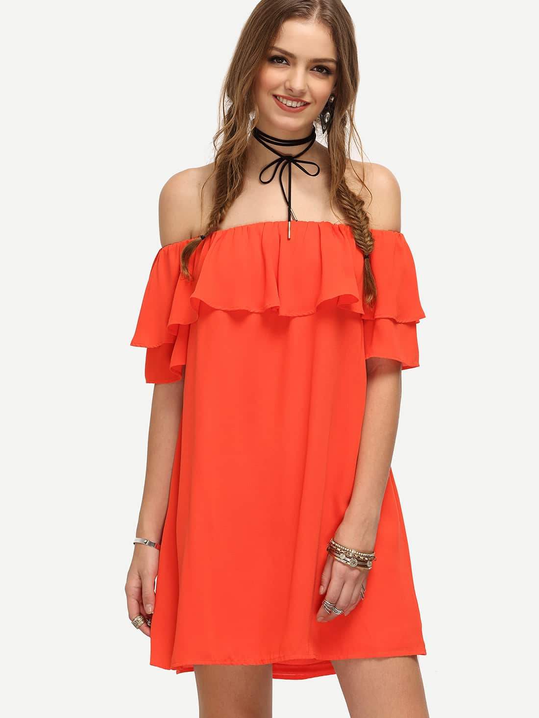 Off Shoulder Frill Detail Shift Dress dress160606757
