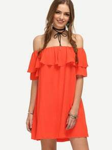 Red Off The Shoulder Ruffle Shift Dress