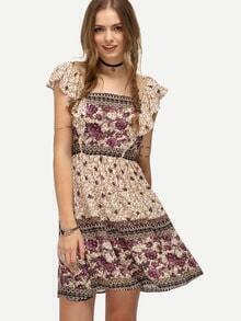 Multicolor Petal Sleeve Floral Print Dress