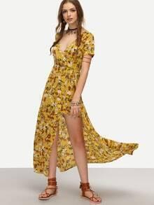 Vestido floral escote V manga corta maxi -multicolor