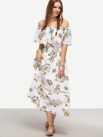 White Off The Shoulder Flower Print Maxi Dress