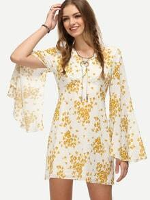 Yellow Floral Print Bell Sleeve Dress