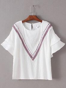 White Bell Sleeve Embroidery Blouse