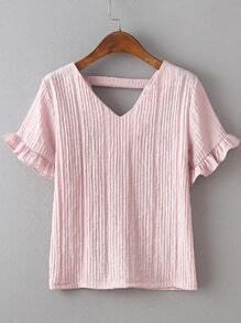 Pink Petal Sleeve V-back Blouse