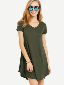 Olive Green V Neck0 Swing Tee Dress