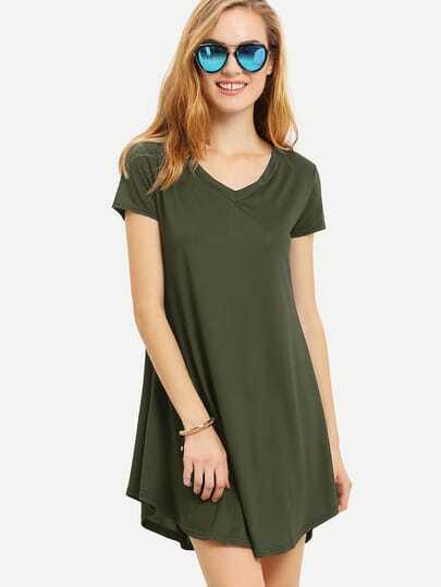 Olive Green V Neck0 Swing Tee Dress