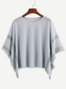 Grey Frayed Lace Insert Poncho Blouse
