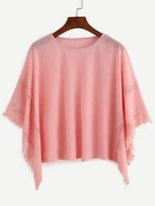 Pink Frayed Lace Insert Poncho Blouse
