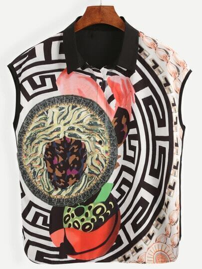 Multicolor Abstract Print Sleeveless Chiffon Blouse