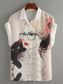 White Portrait Print Roll Sleeve Chiffon Blouse
