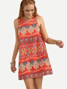 Red Vintage Pattern Print Tank Dress