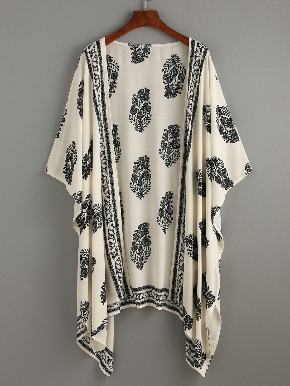 Vintage Pattern Print Hanky Hem Kimono