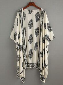 Kimono décontracté imprimé feuilles - beige