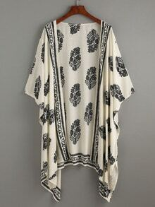 Beige Vintage Pattern Print Kimono