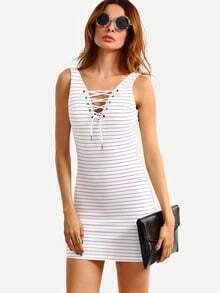 White Lace-Up V Neck Striped Sheath Dress