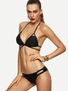 Black Cutout Strappy Triangle Bikini Set