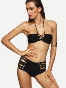 Black Halter Neck Strappy Lace-Up Bikini Set