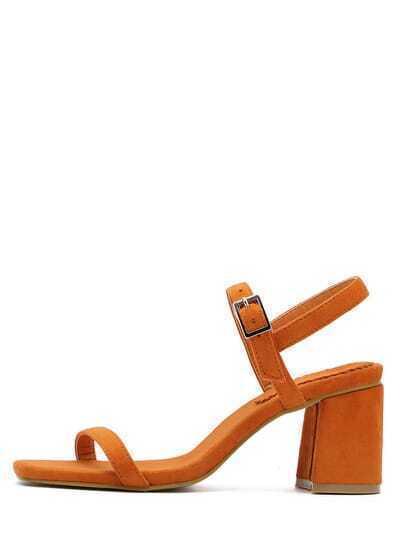 Orange Peep Toe Buckle Strap Chunky Sandals