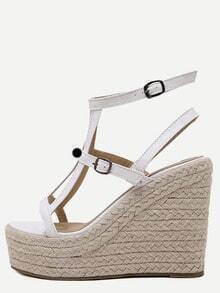 Sandales semelle compensée bout ouvert - blanc