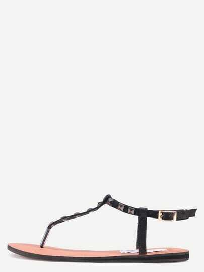 Black Metal Decorated Buckle Strap Flip Sandals