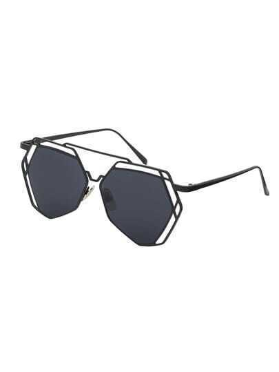 Black Metal Frame Glasses : Black Metal Frame Hollow Sunglasses -SheIn(Sheinside)